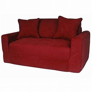 kids sofa sleeper in red micro suede dcg stores With red suede sectional sofa