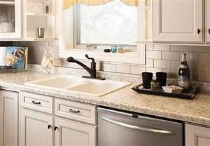 White metal backsplash and peel stick decor also clean for Kitchen colors with white cabinets with bronze fish wall art