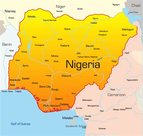 nigeria map showing attractions accommodation
