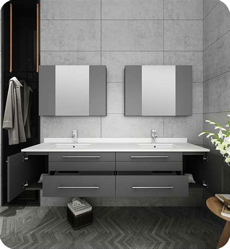 fresca lucera  gray wall hung double undermount sink