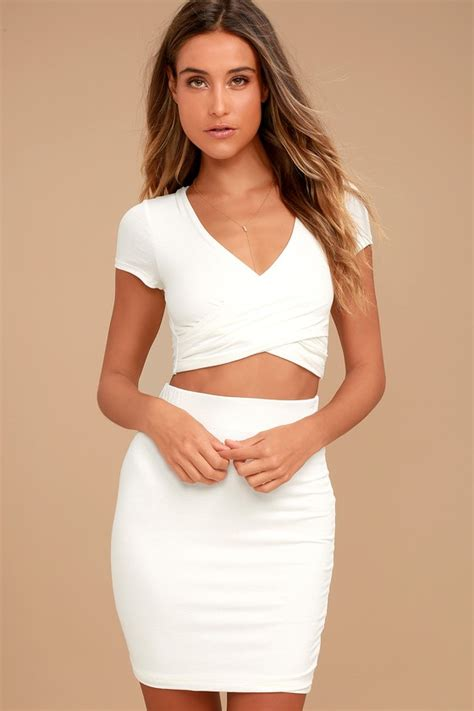 Two Pieces By Domiadream two dress jersey knit dress ivory bodycon dress