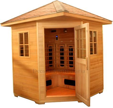 sauna and play 4 person outdoor sauna hemlock far infrared 6xl ceramic