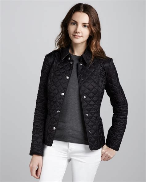 burberry quilted jacket womens lyst burberry brit heritage quilted jacket in black