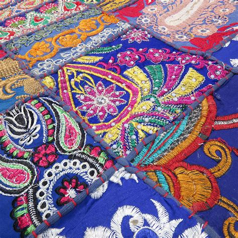 blue embroidered decorative bohemian multicolor wall