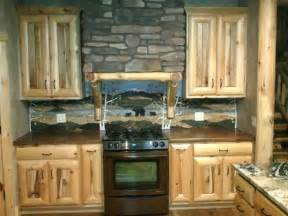 rustic kitchen love the backsplash log cabin cottage ideas pinterest