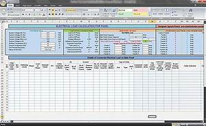 Calculate Electrical Load Of Panelboard  Excel Spreadsheet
