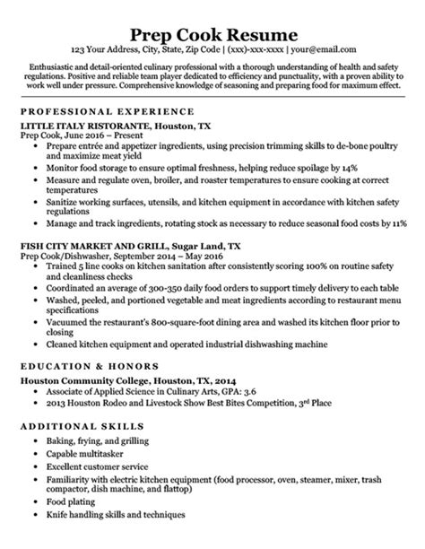 Cook Resume Skills by Prep Cook Resume Sle Writing Tips Resume Companion
