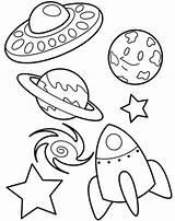 Galaxy Coloring Planet Spaceship Ufo Netart sketch template