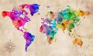 World Map Modern Abstract Art Watercolour grunge CANVAS