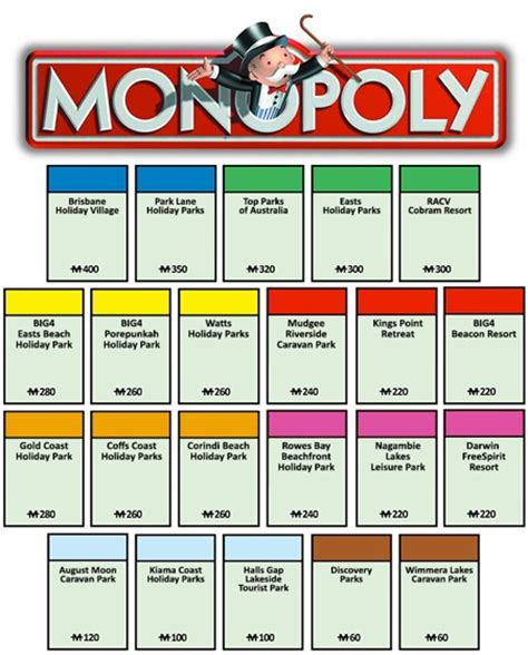 worlds  caravanning  camping monopoly board
