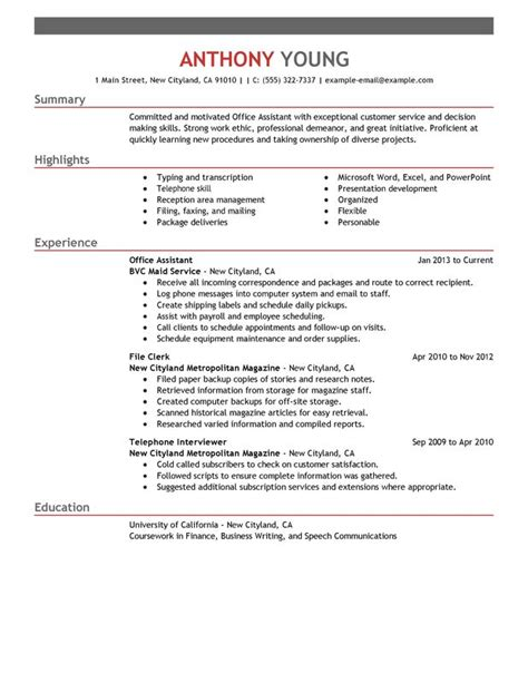 office assistant resume exles free to try today
