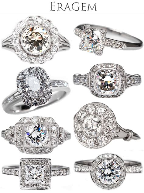 vintage engagement rings from eragem junebug weddings