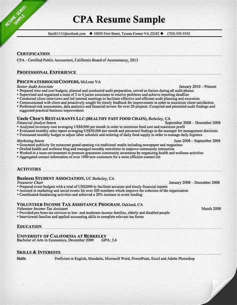 Professional Experience Resume Exles by Cpa Resume Sle 2016 Writing Resume Sle Writing