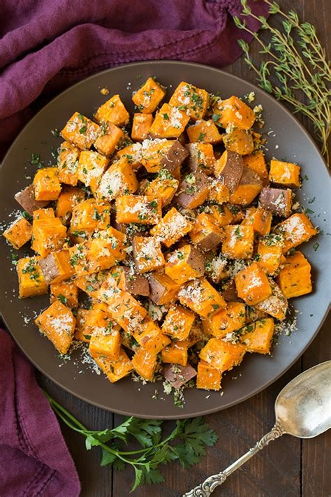 savory roasted sweet potatoes  garlic herbs