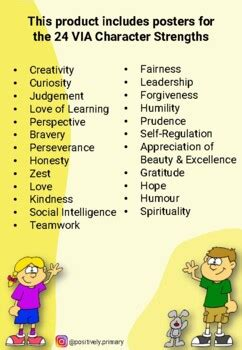 character strengths posters  kids positive psychology