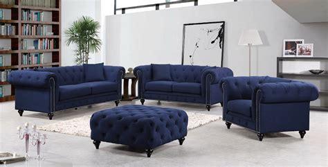 Navy Loveseat by Kristopher Chesterfield Modern Navy Linen Tufted Sofa
