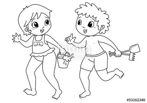 disegni di bambini che giocano al mare quot bambini in spiaggia disegno da colorare quot immagini e