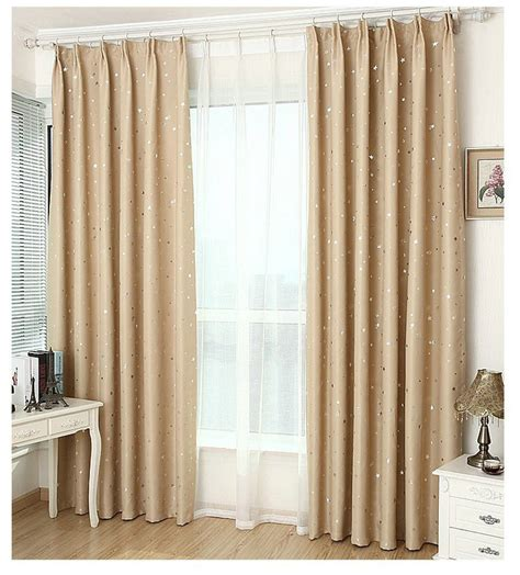 window curtains solid color stars pattern finished