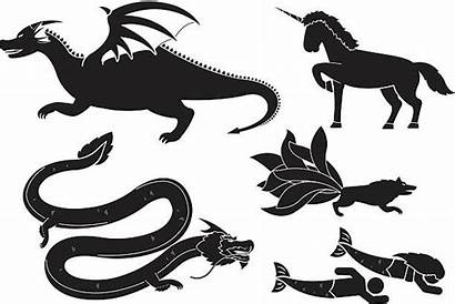 Evil Unicorn Creatures Vector Mythical Clip Illustrations