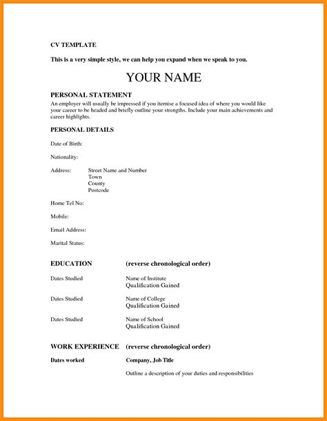 17079 simple cv template 9 curriculum vitae simple en word odr2017