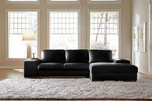 Black leather sectional sleeper sofa with wide chaise for Sectionals for small rooms canada