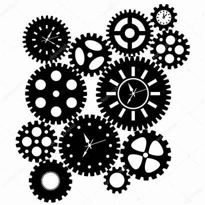 Cliparts Schaltet Zeituhr Clock Gears Jpldesigns Stockbild