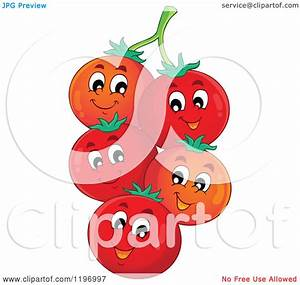 Cartoon of Happy Red Tomatoes on the Vine - Royalty Free ...