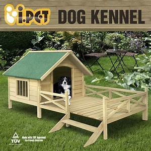 Extra large pet dog kennel house with patio wooden timber for Large dog house with porch