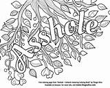 Coloring Swear Adult Words Asshole Template sketch template