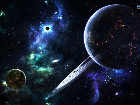 space abstract galaxy planet rings stars hd wallpaper