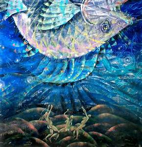 Acrylic paintings from Sulpan Bilalova: series Human and Fish
