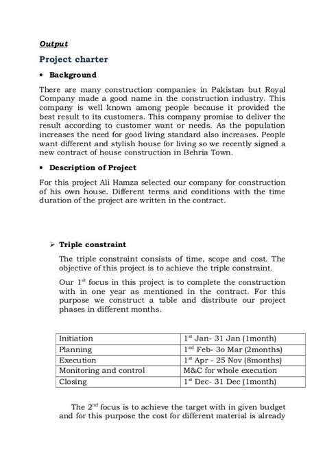 project  construction  house report project charter