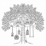 Coloring Treehouse Birds Tree Pages Adults Colouring Colorluna sketch template