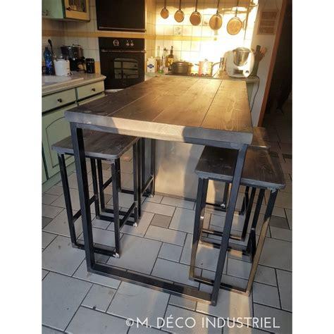 meuble de cuisine industriel meuble industriel îlot centrale de cuisine grisé m déco