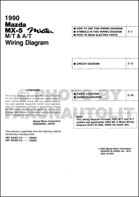 Mazda Miata Wiring Diagram Manual Original Both