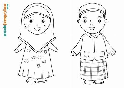Mewarnai Anak Gambar Muslim Untuk Belajar Sekolah