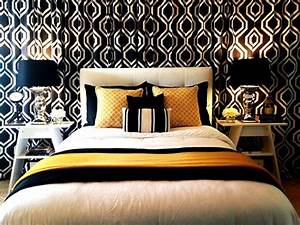 Black, White and Gold / Yellow Bedroom With Curtain