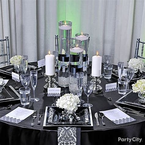 black and white party table centerpieces black white red gold reception decorations silver trendy
