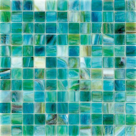 blue mare teal polished   glass mosaic