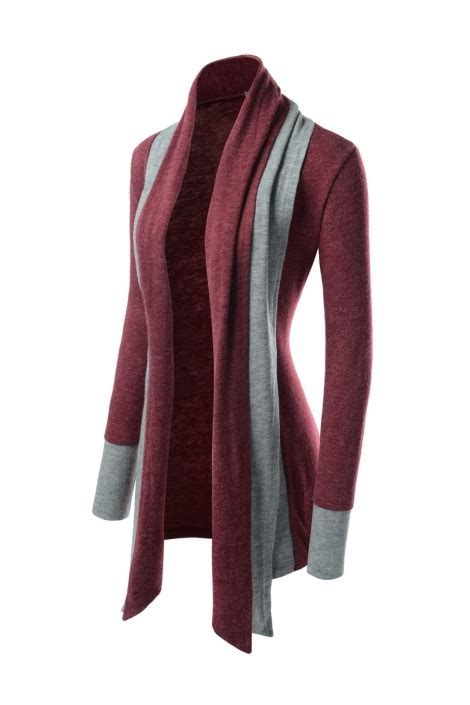Korean Womens Burgundy Red Shawl Collar Open Front Knitted