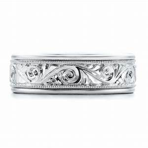 Hand engraved men39s wedding band kirk kara 100671 for Engraving on mens wedding rings