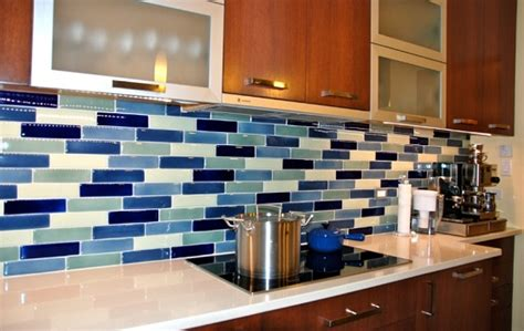 blue tile kitchen backsplash glass tile for kitchen backsplash blue blend home interiors