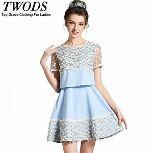 twods l 5xl mesh embroidery women skater dress plus size With robe courte ete