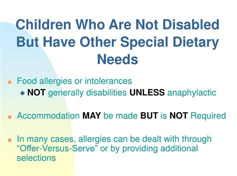 accommodating children  special dietary