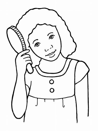 Hair Brushing Brush Clipart Comb Coloring Library