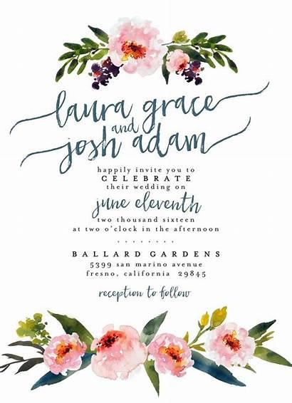 Invitation Invitations Floral Boho Watercolor Printable Invite