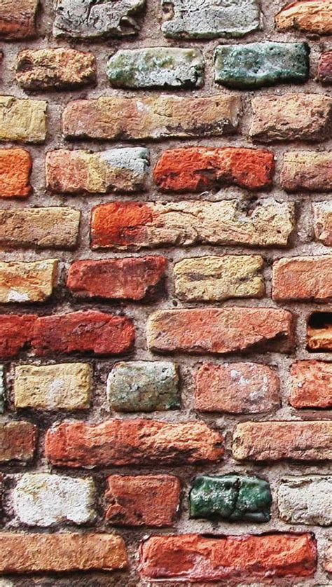 Looking for the best brick wallpaper? Colorful Brick Wall iPhone se Wallpaper Download | iPhone ...