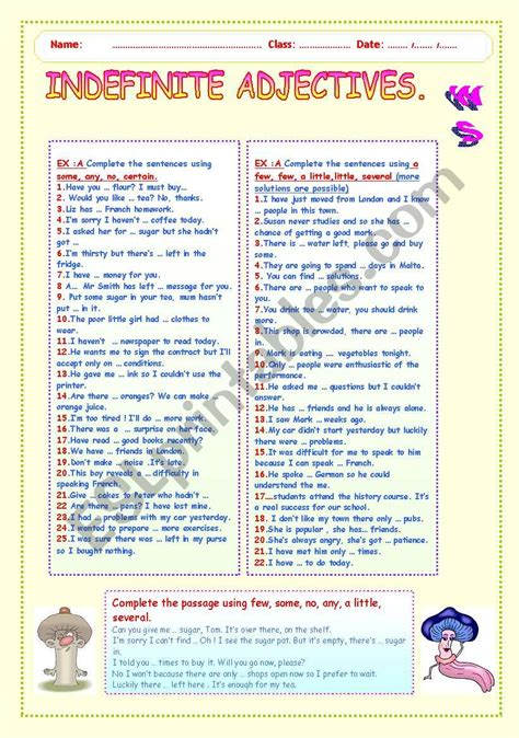 collection of worksheet on indefinite adjectives