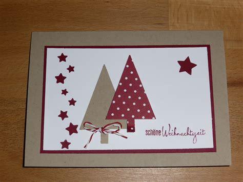 weihnachtskarte selbst gemacht tannenbaeume selbst