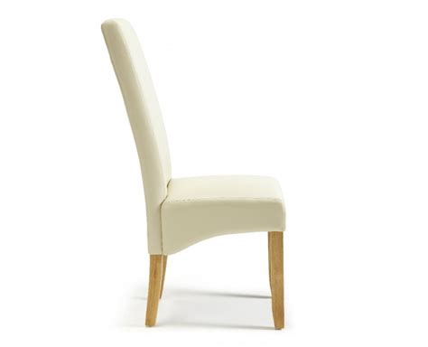serene merton faux leather dining chairs with oak